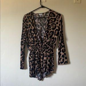 Cheetah long sleeve romper